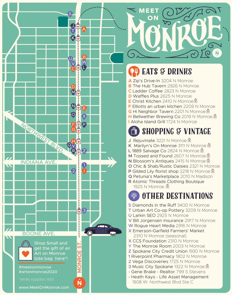 Map of monroe businesses by Mallory Battista